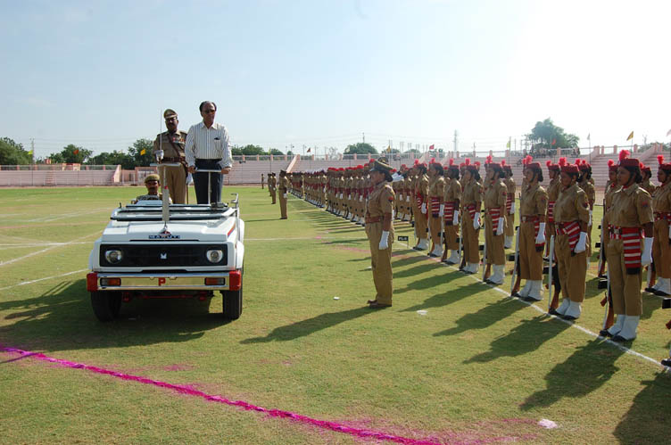 Home Secretary S N Thanvi inspecting the parade practice