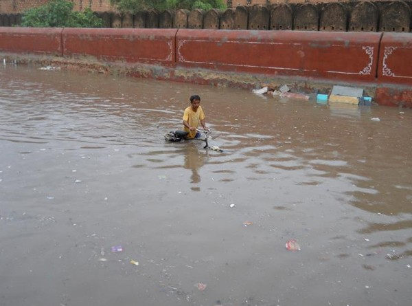 A panorama of Sansolav Talab - Bikaner, filled with rain water
