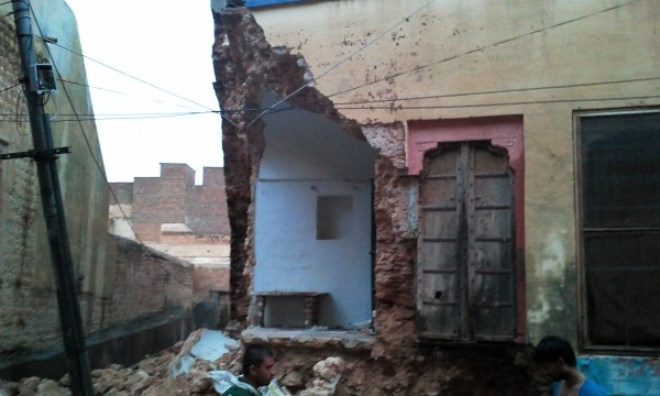 Part of houses fallen due to heavy rain