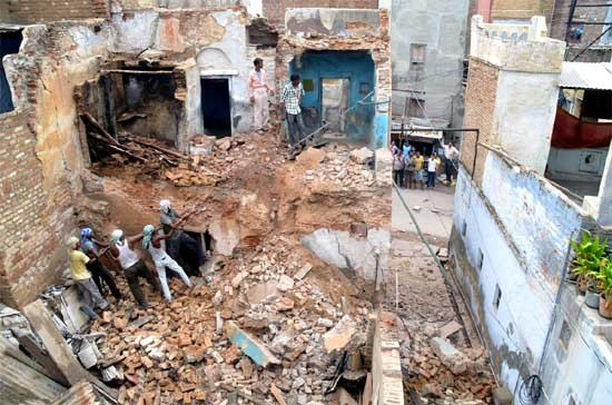 A House Near Dauji Temple demolish after Rain in Bikaner