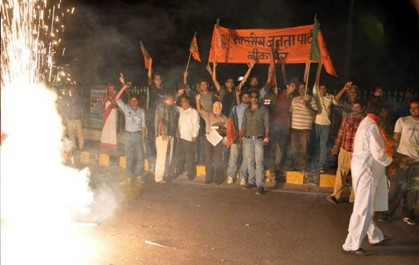 BIkaner BJP celebrating with fireworks on Modi BJP - NDA Candidate for PM