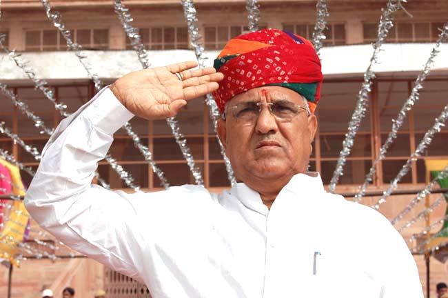 Hoisting of flag in Dr. Karni singh Stadium by Revanue Minister Ramnarayan Dudi