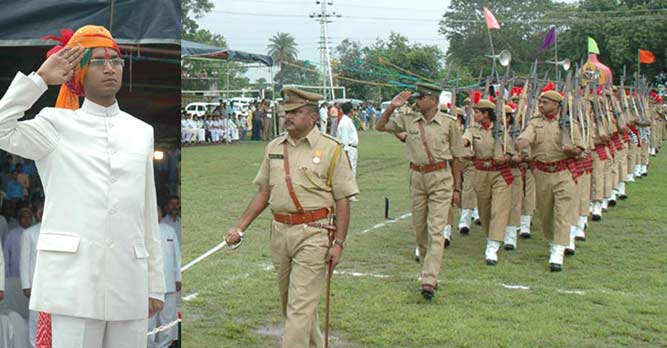 Hoisting of flag by Collector Neeraj k. Pawan in Dungarpur Laxman Ground