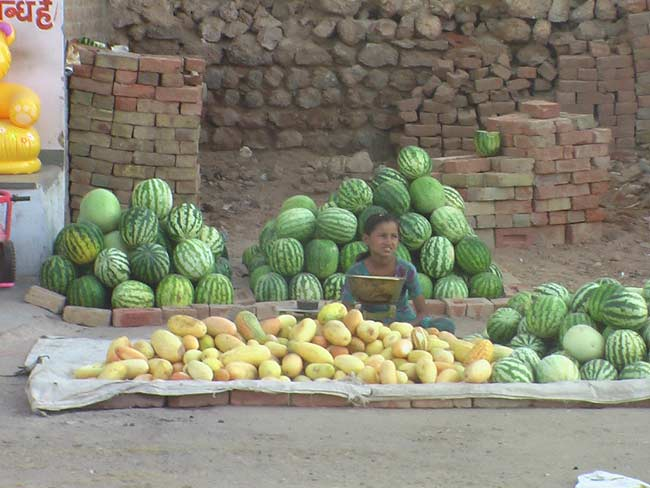 Market is full with traiditional Fruits and vegetbales used in pooja