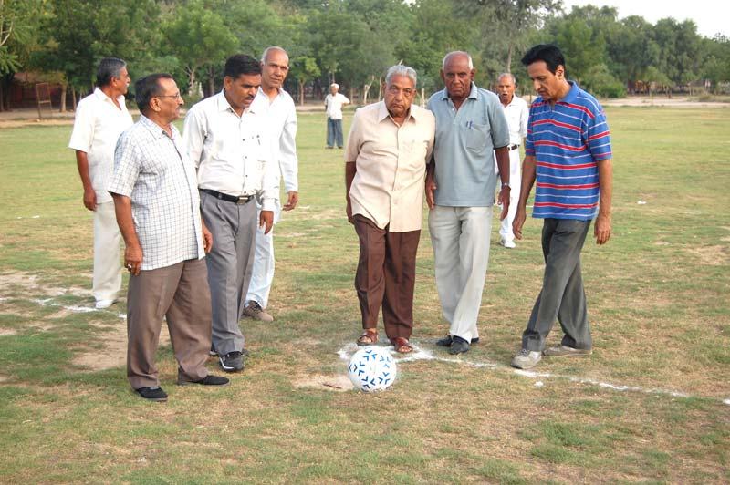 Football Match was played between senior Citizens in morning, Dr.Kalicharan Mathur starting the play