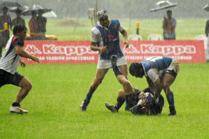 The Hutch India Rugby Team in their Blue and White KAPPA Jerseys Trounced Visitors Guam 47-0