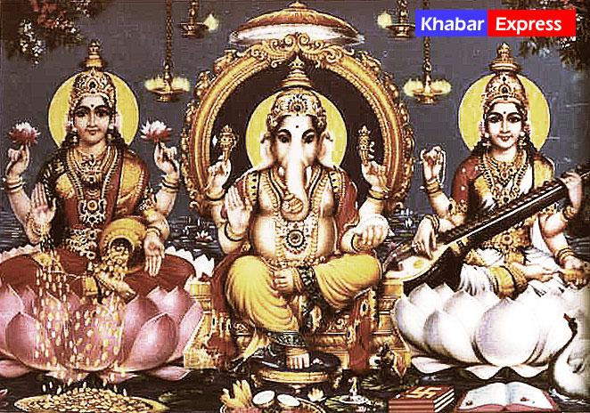 Laxmiji, Lord Ganesh and Sarawati ji