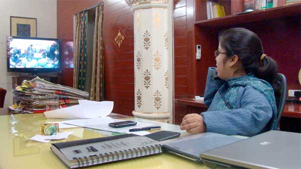 Bikaner DM Arti Dogran discussing to Handicap via newly initiated Video Conference system