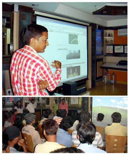 Students of Maya Academy gets tips from seniour photo journalist Dinesh Gupta