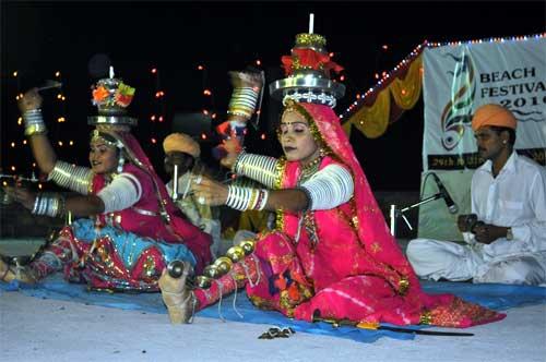 Folk Dancer of Rajasthan performs Tera Taal at Beach Festival organised in Deev
