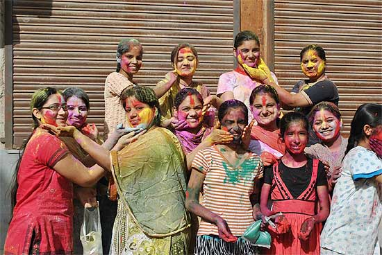 Holi celebration in PIC � Collector Dr Pritviraj plays holi with DIPR officers