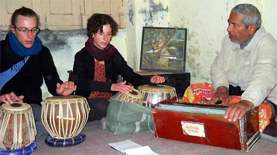 Tourists from Switzerland Zain and Qyara Learning Indian Classical music from Murari Sharma