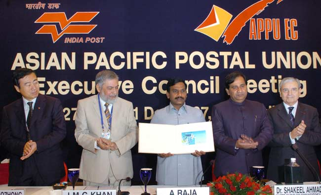 The Union Minister for Communications and Information Technology, Shri A. Raja releasing a postal st