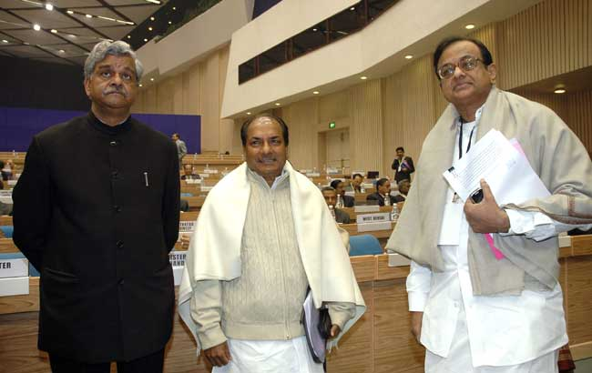 The Union Finance Minister, Shri P Chidambaram, the Defence Minister, Shri A. K. Antony and the Mini