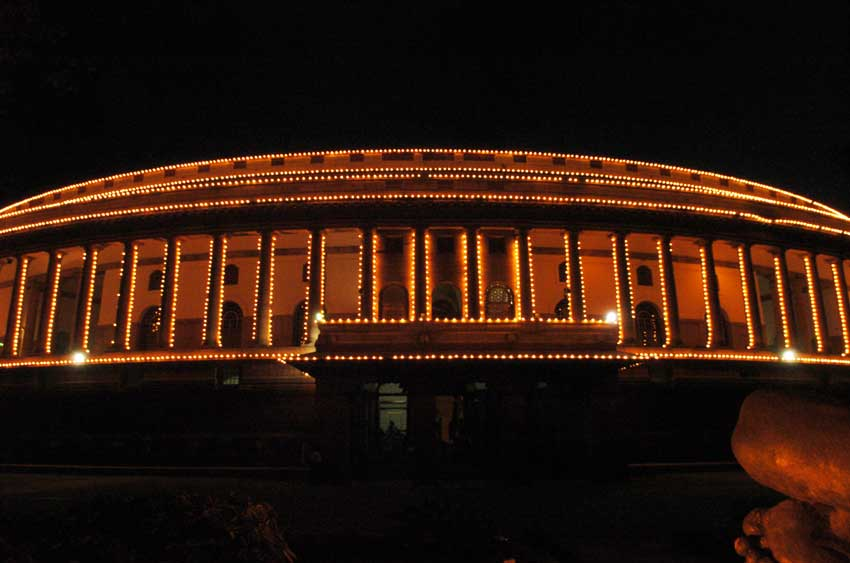 A lighting illumination of Parliament building on the occasion of the 60th Independence Day