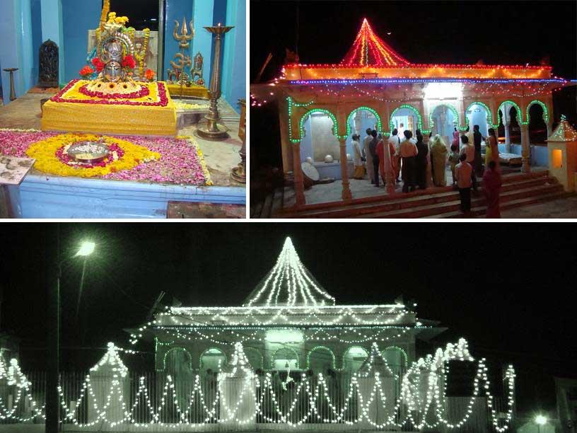 Lord Raj Rajeshwar and decorated temple with lighting at Banswara