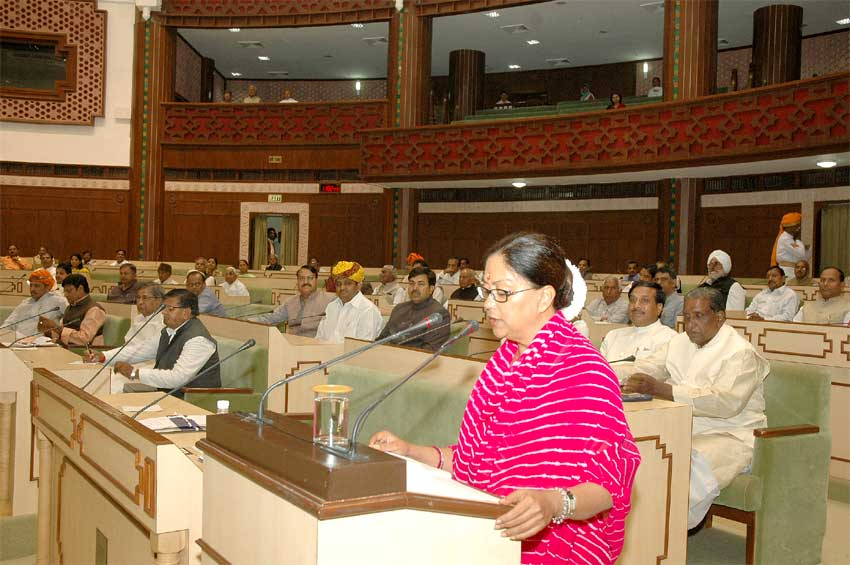 Rajasthan Chief Minister Ms Vasundhara Raje presenting Budget for Year 2008-09 in State Assembly
