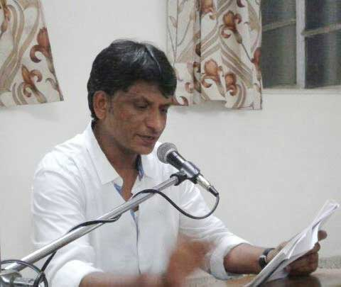 Rajesh Tailang during his poetry recitation
