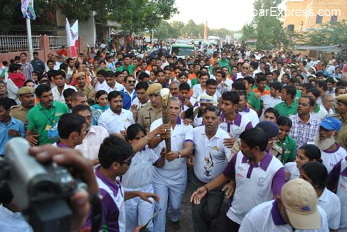 College Girls during the welcome function of Queen Baton Relay in Bikaner