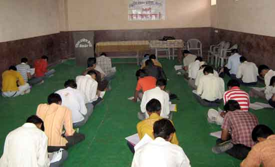 Job seeker giving written exam at Bikaner Employment Exchange