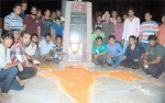 RSS celebrates 67th independence Day by making Indian Map at Gokul Circle,Bikaner
