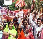 March Past held at Collectrate, bikaner against Price Hike