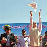 Virender Beniwal and Dr Pritvi Raj inaugrating the Camel Festival 2011 at Dr Karni Singh Stadium, Bikaner