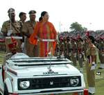 CM Vasundhara Raje Inspecting the Parade at Independence Day Function at Karni Singh Stadium,Bikaner
