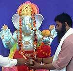 Lord Ganesh Idol offered Pooja before immerse in the river