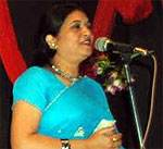 Poetess Kavita Kiran during poetry conference held at Town Hall, Bikaner
