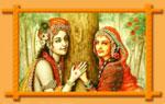 Radha and Krishna around a Tree image in Wall Frame
