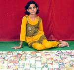10 years old Tinu Panwar collected 800 play cards