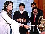 Bollywood Actress Raveena Tandon inaugurating Health Clinic of Dr S K Jain Burlington Clinic