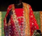 A bridal wear Saree displayed at Rajasthan Ratnakar Diwali Fair
