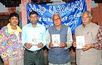 Mohta, Chhangani, Joshi and Wirter Sushil Chhangani releasing book Byawn Ra Geet (Wedding Songs)