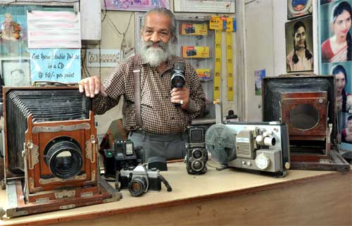 B L Singla with Old Cameras