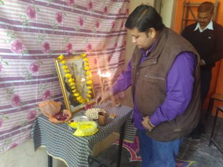 Srikant Dave Offering pray before Saraswati Idon at Sister Nivedita Girls College