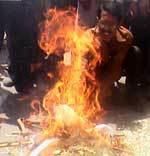 BSNL employees burns effigy of BSNL CMD Kuldeep Goyal
