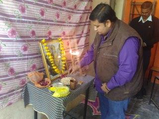 Srikant Dave Offering pray before Saraswati Idon at Sister Nivedita Girls College